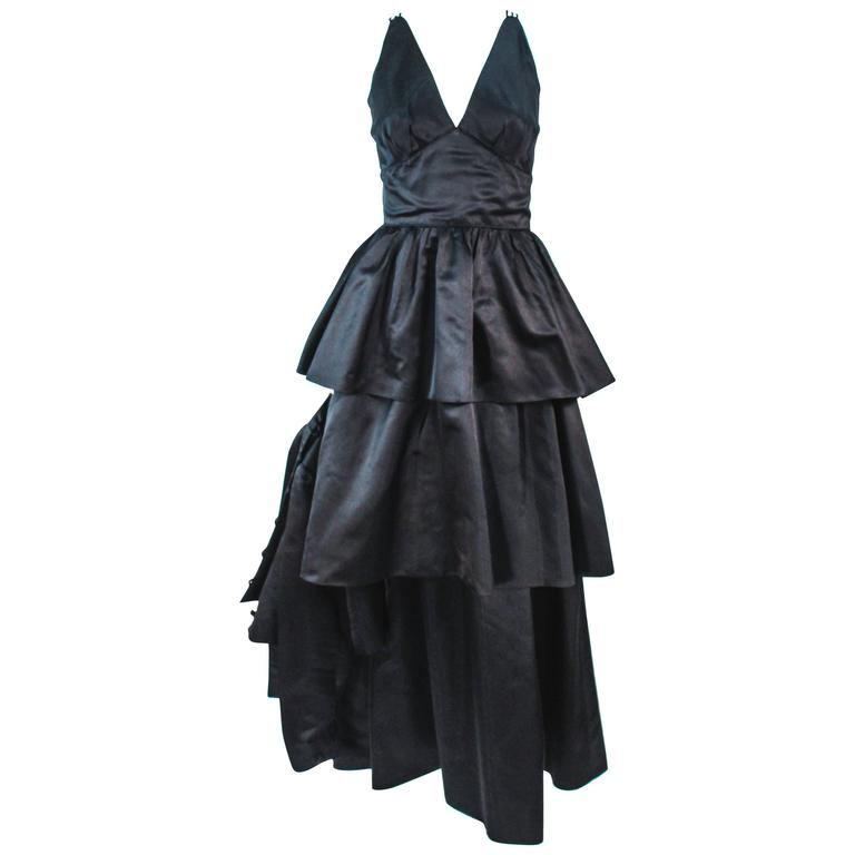 MICHAEL NOVARESE Vintage Black Satin Tiered Gown and Jacket Ensemble Size 4 6 For Sale