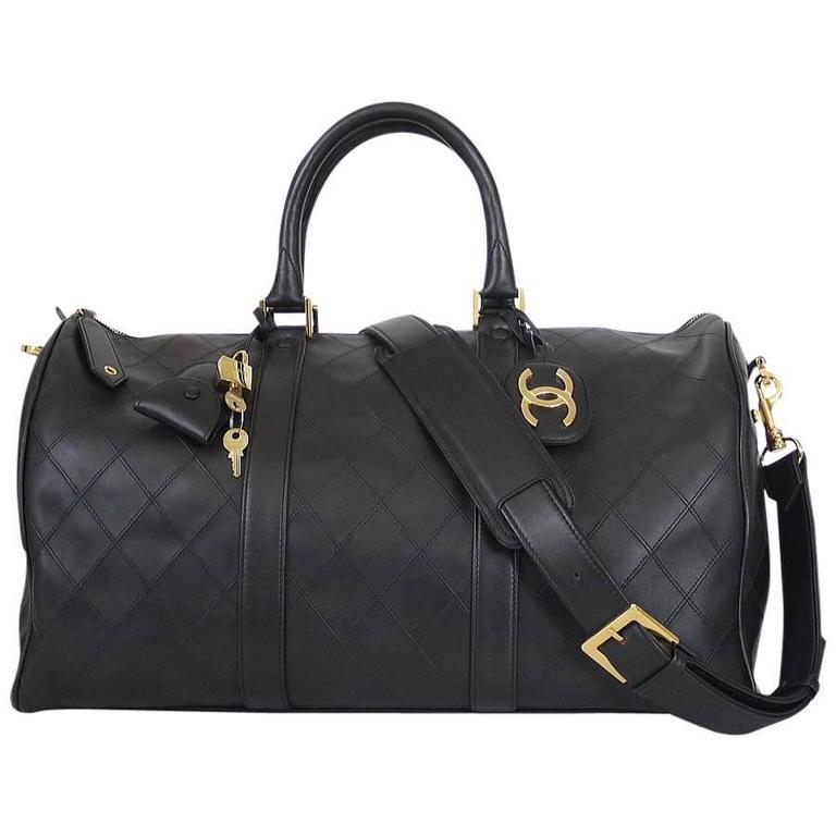 Chanel Black Lambskin Flat Quilt Boston Duffle Bag Vintage 1