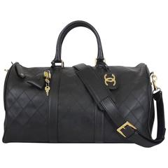 Chanel Black Lambskin Flat Quilt Boston Duffle Bag Vintage