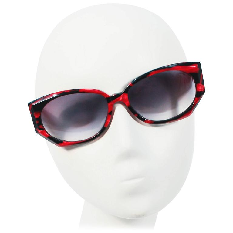 KRIZIA Vintage Black and Red Marbled Sunglasses Wide Frame Italy For ...
