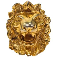 JUDITH LEIBER Vintage Lion's Head Brooch Pendant Gold Tone