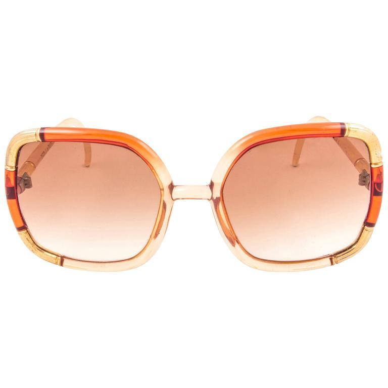 New Vintage Ted Lapidus Paris Gold Translucent Amber 1970 Sunglasses