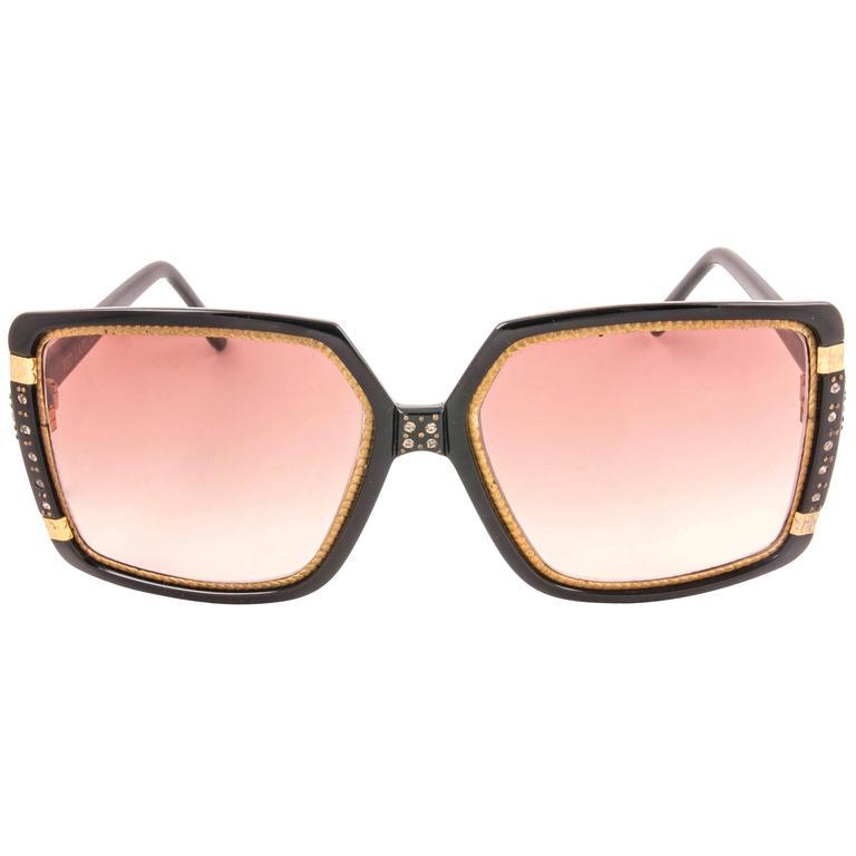 New Vintage Ted Lapidus Paris TL Strass Accents Gold Black 1970 Sunglasses