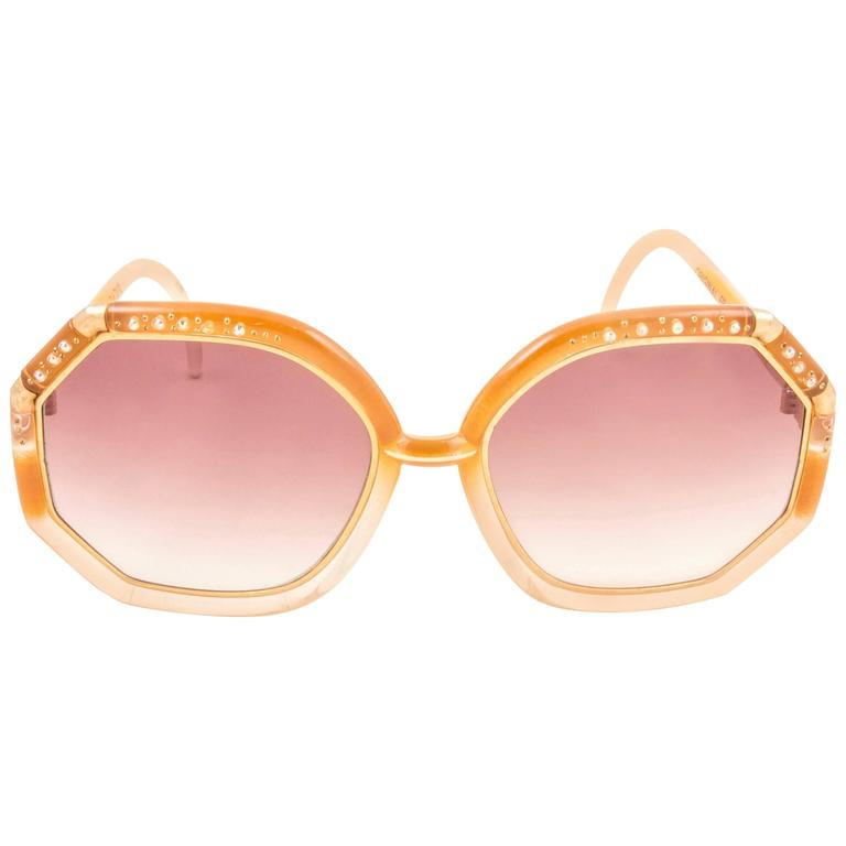 New Vintage Ted Lapidus Paris TL Strass Accents & Amber 1970 Sunglasses