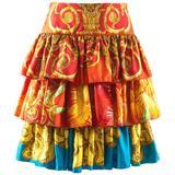 Gianni Versace Spring-Summer 1993 printed ruffled tiered silk skirt
