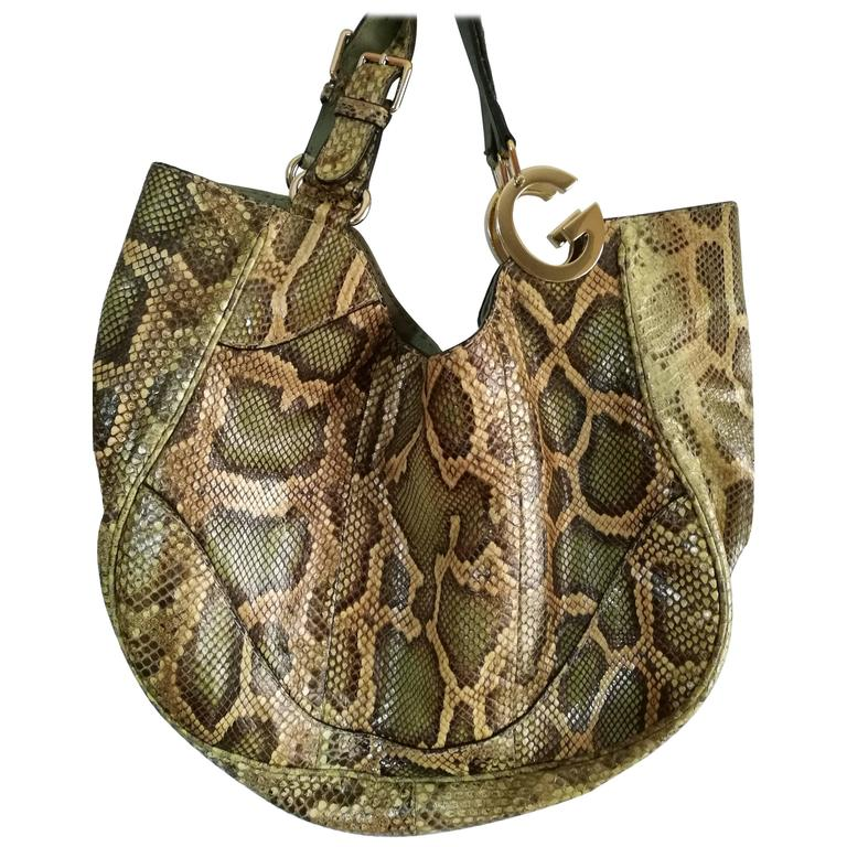 Gucci Green nude tone Python Skin Shoulder Bag