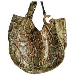 Gucci Green nude tone Python Skin Shoulder Bag