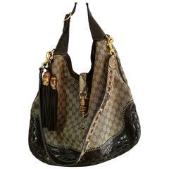 Gucci Monogram Crocodile and Python Skin Shoulder Bag