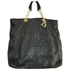 Christian Dior Black Gold Tone Hardware Lady Dior Shoulder Bag