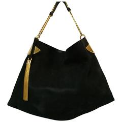 1970s Gucci Black Gold Hardware Shoulder Bag