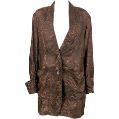 1990s Dries Van Noten Printed Silk Oversized Jacket / Shirt