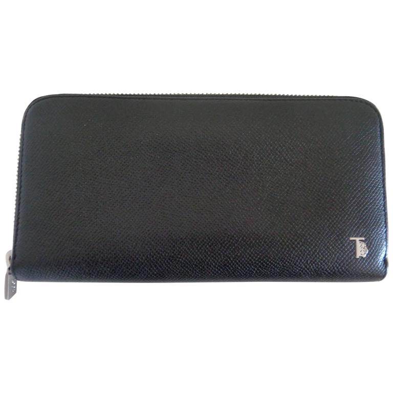Tod's Black Leather Silver Hardware Wallet For Sale
