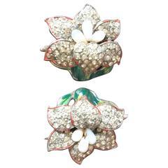 Beautiful Pair of Art Deco Enamel Rhinestone Flower Pins by CoroCraft
