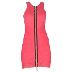New Versace Crystal Embellished Pink Ruched mini dress