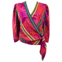 1980s Lanvin Vibrant Abstract Printed Silk Wrap Blouse