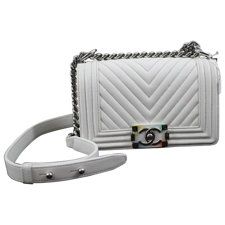Chanel Spring 2017 Mini Boy Bag in White Leather Rainbow Clasp For Sale d06342ee114d