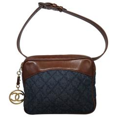 Vintage Chanel Belt Bag in Jeans Fabric and Brown Leather. Golden Hardware