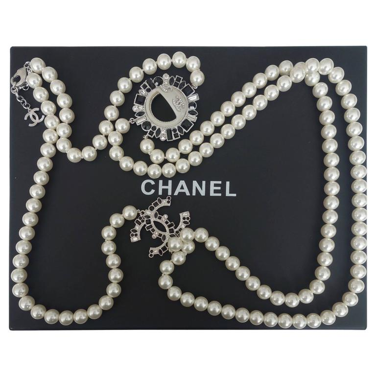 CHANEL CC Smiley Emoji Crystal White Pearl Beaded Long Necklace 2016 1