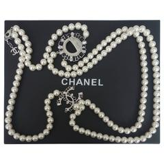 CHANEL CC Smiley Emoji Crystal White Pearl Beaded Long Necklace 2016