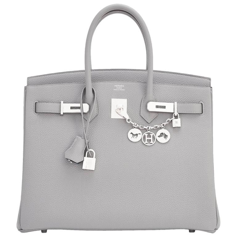 "Hermes Gris Mouette ""Verso"" 35cm Togo Birkin Blue Agate Limited Edition  For Sale"