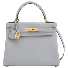 Hermes Gris Mouette 28cm Kelly Bag Togo Grey Gold Hardware