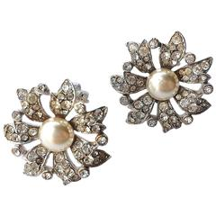Christian Dior by Michel Maer paste and pearl Andante Flower Earrings, 1950s