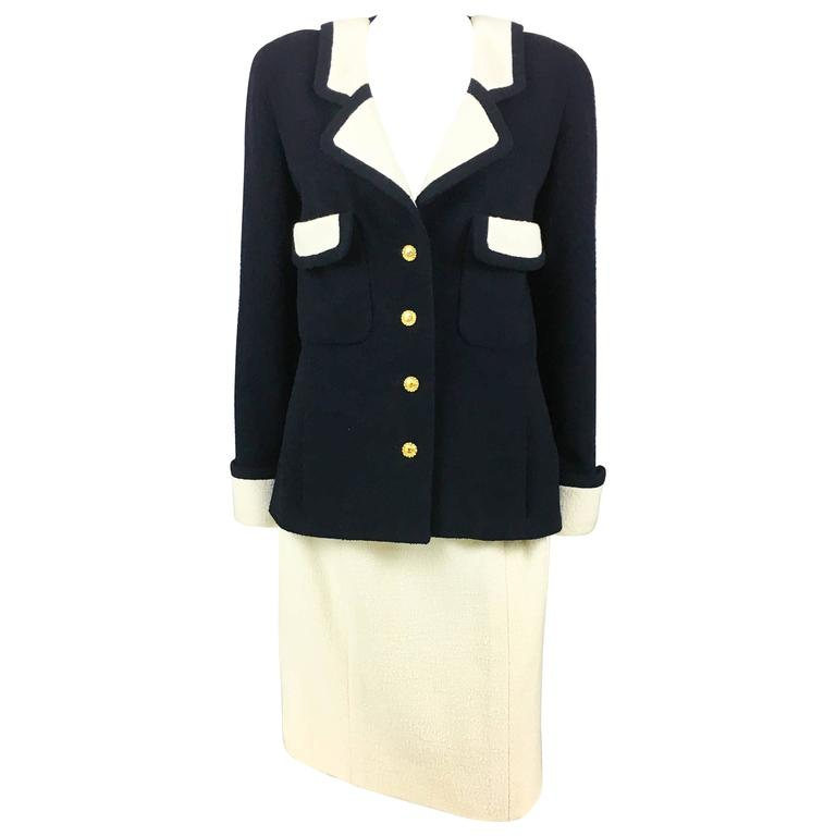 Chanel Nautical Inspired Navy and White Wool Skirt Suit, Circa 1982 1