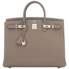 Hermes Etoupe 40cm Birkin Bag Togo Palladium Hardware Sporty Chic