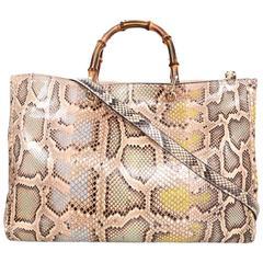 Gucci Blush Python Large Shopper Tote Bag w. Bamboo Handles rt. $3,800