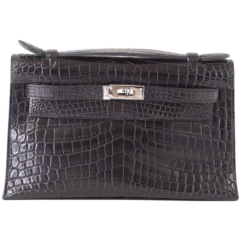 cb562854891 Hermes Kelly Pochette Clutch Bag Matte Black Crocodile Palladium For Sale