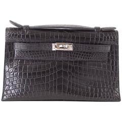 HERMES Kelly JPG Pochette Cutch Bag Matte Black Crocodile Palladium