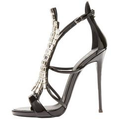 Giuseppe Zanotti NEW & SOLD OUT Black Patent Jewel Heels Sandals in Box