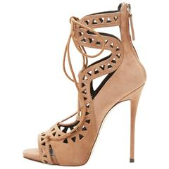 Giuseppe Zanotti NEW Nude Tan Suede Cut Out Lace Up Sandals Heels in Box