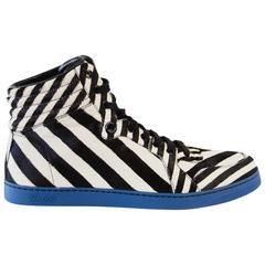 Gucci Men's Shoe Pony Stripe Black / White  Blue Sole High Top Sneaker  9.5 G