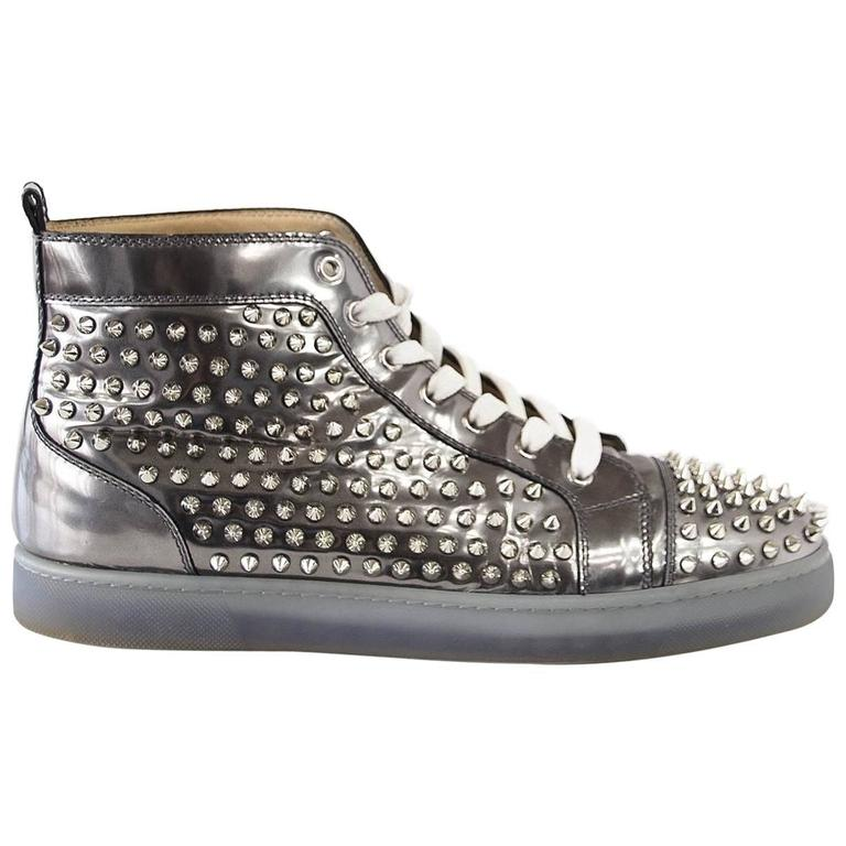 finest selection 16b1e f0113 Christian Louboutin Men's Louis Flat Antispecchio Spike Gray Silver 43 / 10