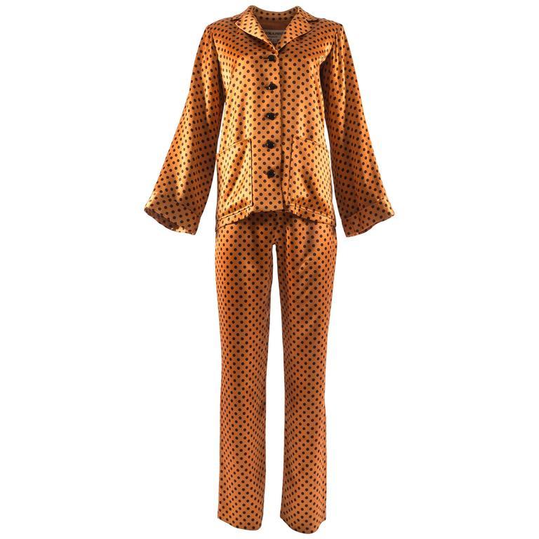 Yves Saint Laurent 1971 orange polkadot silk pyjama pant suit 1
