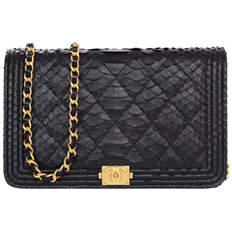 1c8e6b56f719a9 Chanel NEW 2017 Black Python Boy Wallet on a Chain WOC Crossbody Bag For  Sale