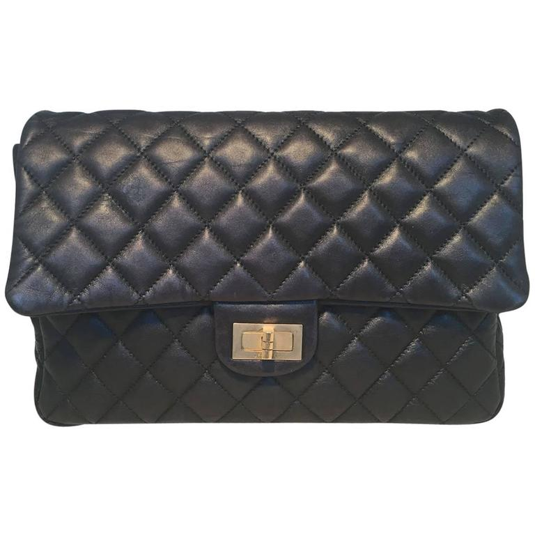 Chanel Black Quilted Soft Lambskin Leather Classic Flap Clutch