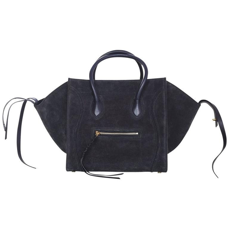 767f8e0ec85a Celine Midnight Blue Suede Medium Phantom Tote Bag For Sale at 1stdibs