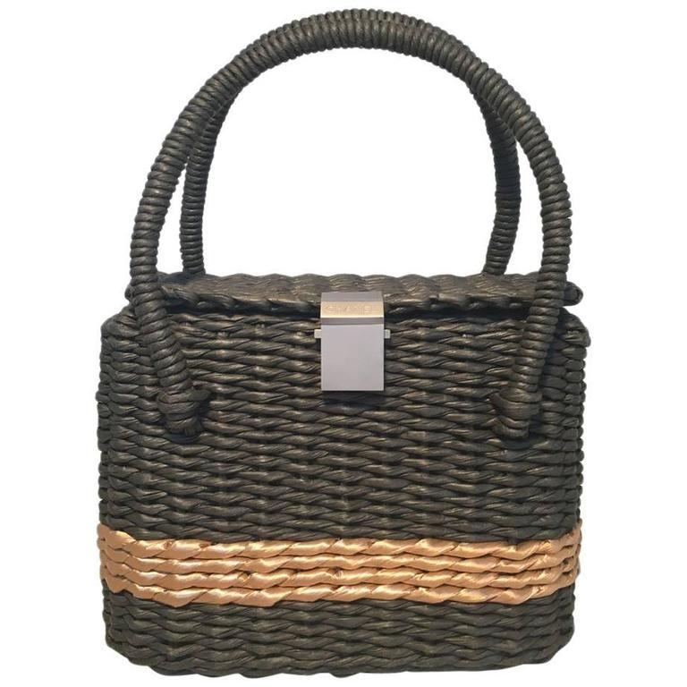 RARE Chanel Charcoal and Tan Wicker Rattan Basket Handbag