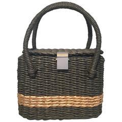 RARE Chanel Charcoal and Tan Wicker Rattan Basket Handbag