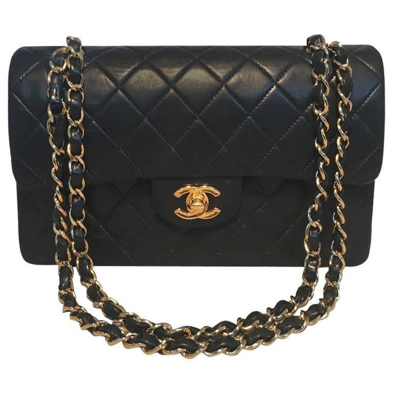 Chanel Black 9inch 2.55 Double Flap Classic Shoulder Bag For Sale