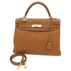 Hermes Kelly Retourne 32 cm Bag Togo Gold Leather GHW 2007