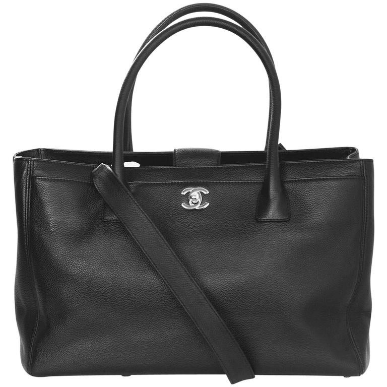 Chanel Black Deerskin Leather Executive Cerf Tote Bag w/ Strap  1