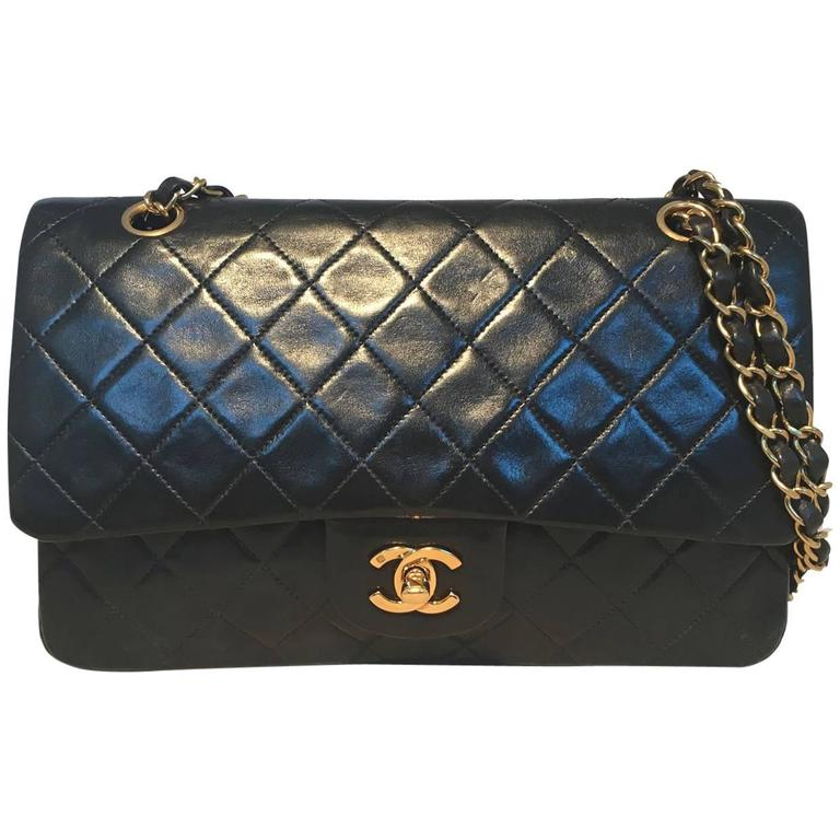 dc092e2927df Chanel Black 10inch 2.55 Double Flap Classic Shoulder Bag For Sale ...