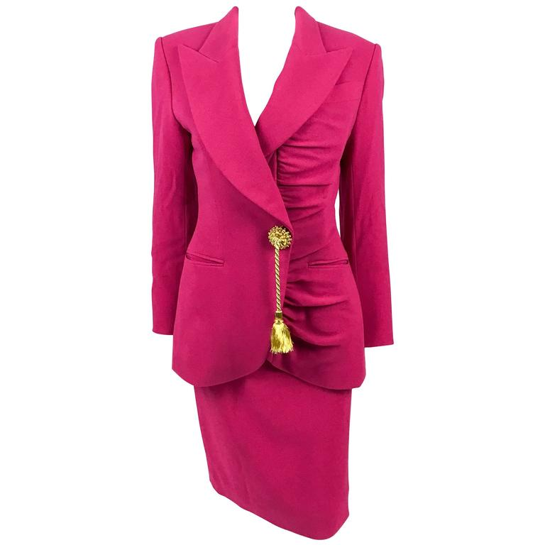 936e6f4d8 1980s Dior Numbered Demi-Couture Hot Pink Suit With Golden Tassel For Sale