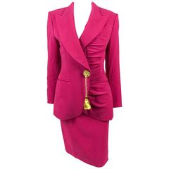 1980s Dior Numbered Demi-Couture Hot Pink Suit With Golden Tassel