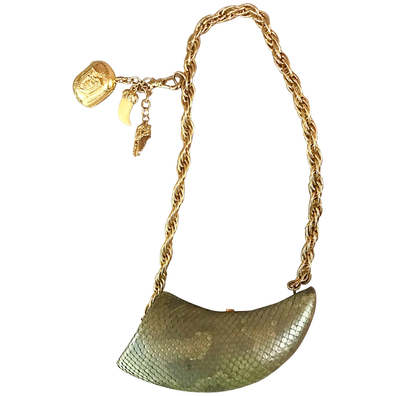 Avant Garde Vintage 1990s Horn Shaped Snakeskin Removable Charm Evening Bag 90s