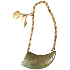 Avant Garde Vintage 1990s Horn Shaped Snakeskin Removable Charm Evening Bag 90s