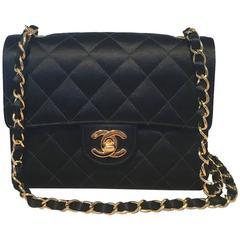 Chanel Vintage Quilted Black Satin Mini Classic Flap Shoulder Bag